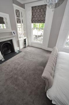 Elegant cream and grey styled bedroom. Carpet by Bowloom Ltd.