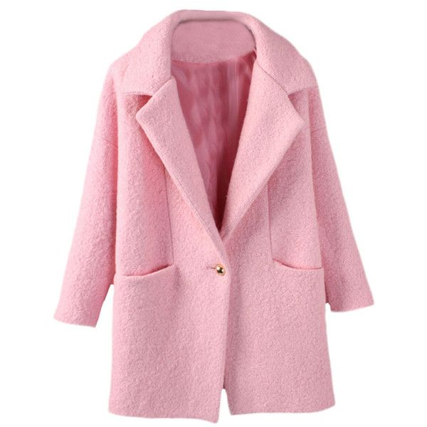 Blackfive Single Buttoned Dropped Shoulder Md-long Woolen Coat (990 ARS) ❤ liked on Polyvore featuring outerwear, coats, jackets, coats & jackets, long pink coat, long wool coat, long coat, lapel coat and pink wool coat