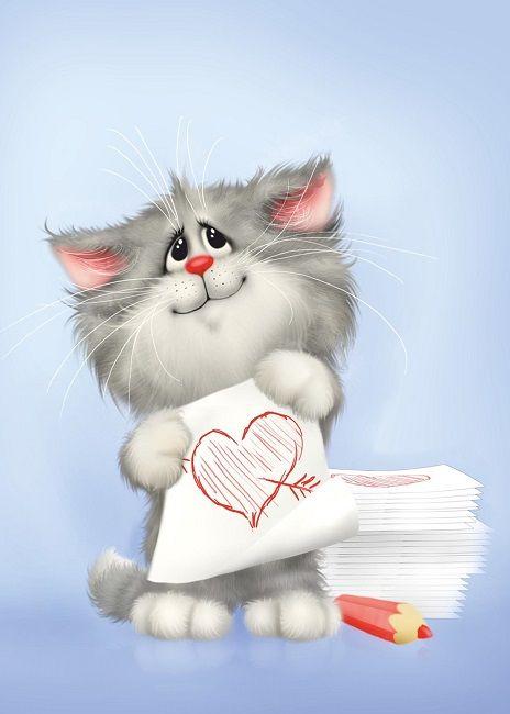 Прикольная открытка котики, смайликами сердечко картинки