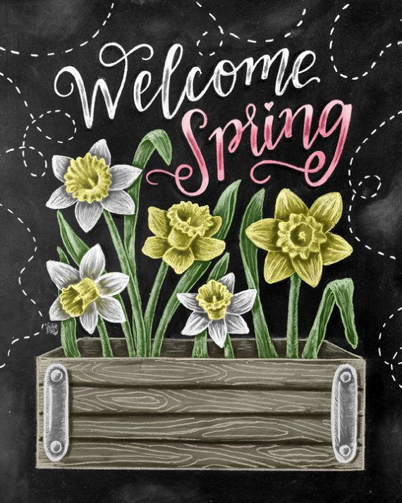 Spring Art Welcome Spring Daffodil Art Chalk Art by TheWhiteLime