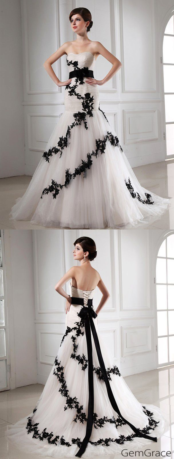 Special white with black lace wedding dress