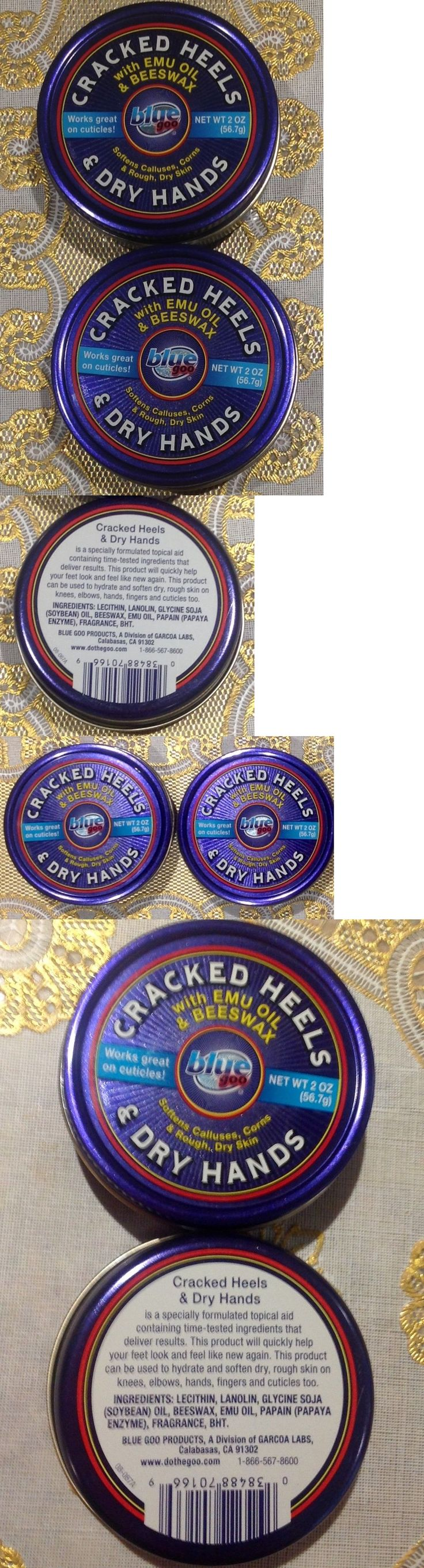 Foot Creams and Treatments: (2) Blue Goo 2 Oz Tins Cracked Heels And Dry Hand Skin Softener Emu Oil And Bees Wax -> BUY IT NOW ONLY: $147.5 on eBay!