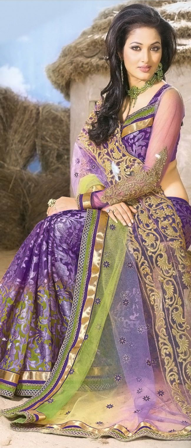 #Purple Net and Brasso Faux #Georgette #Saree with Blouse @ $ 102.27