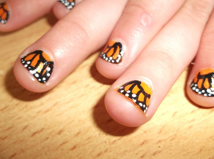 Monarch Butterfly Nails - Kids Version