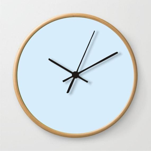 Sky Light Blue Wall Clock Solid Color