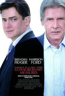 Extraordinary Measures is a 2010 medical drama film starring Brendan Fraser, Harrison Ford, and Keri Russell. It is distributed by CBS Films and was released on January 22, 2010. It is about parents who form a biotechnology company to develop a drug to save the lives of their children, who have a life-threatening disease. The film is based on the true story of John and Aileen Crowley, whose children have Pompe's disease.