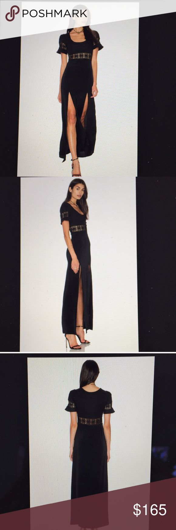 Stone Cold Fox Seymour Gown.Black/ NWT. Size 0/XS SCF's fabulous Seymour Gown. Fitted Gown. Delicately made. One tier of cut out Lace is sewn between the linen top & silk bottom. Top is 100% stretch linen. Skirt is 100% silk. High slits on front of dress, semi- low neckline, short sleeves are trimmed with lace panel. Side zip. Full length Gown.  BNWT. Size 0. Same as XS Stone Cold Fox Dresses Maxi