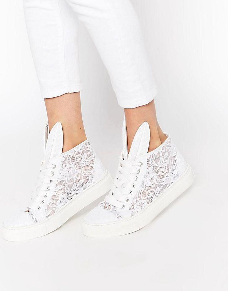 Minna Parikka | Minna Parikka White Sheer Lace High Top Sneakers at ASOS