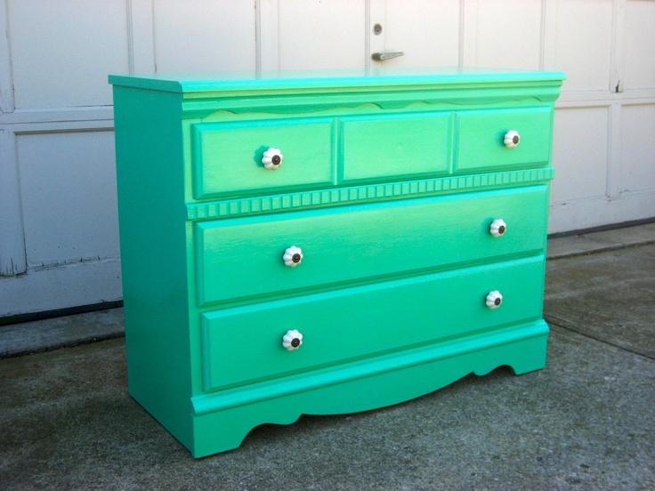 Refurbished Vintage Mint Green Dresser. $275,00, via Etsy.