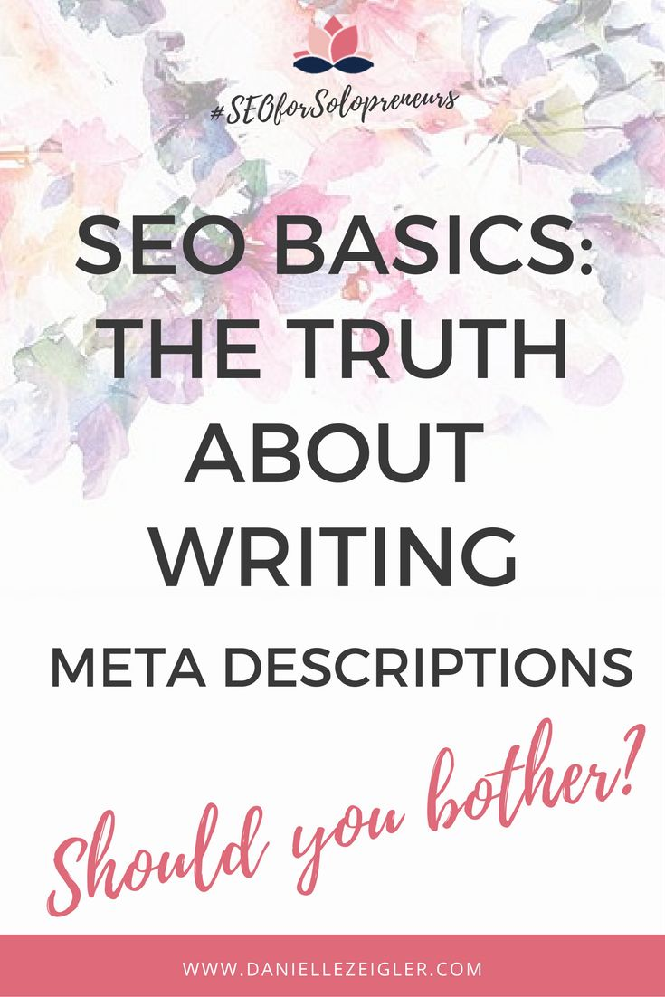 Should you even bother writing meta descriptions for your blog posts? Do they really help with SEO? I'm breaking down the TRUTH about meta descriptions in my latest SEO basics post!