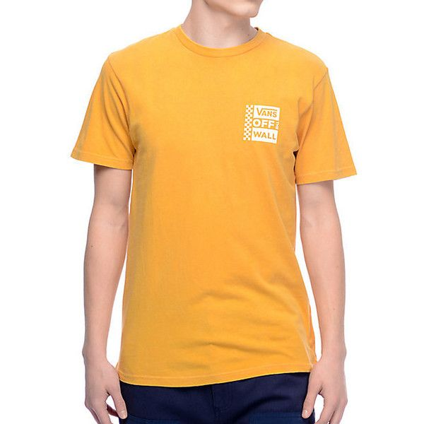 Vans Box Logo Mustard White Pigment T-Shirt ($28) ❤ liked on Polyvore featuring tops, t-shirts, skate tees, logo tee, vans tee, logo t shirts and white tee