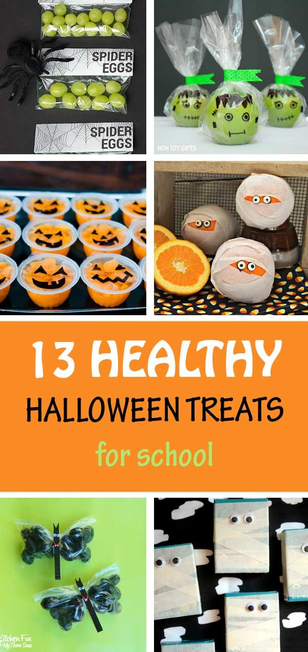 13 Healthy Halloween treats for school: banana ghost, grape Frankenstein, cheese ghosts, apple ghosts, pretzel witch broomsticks, apple witches, apple Frankenstein, grape bat snack, raisin box mummies, orange mummies, mandarin cup Jack-O-Lantern. Kids will love them! | at Non-Toy Gifts