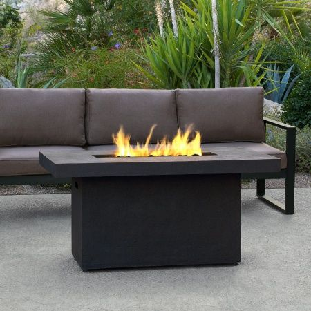 This fire pit is built from lightweight fiber-cast concrete, and heavy gauge steel, with a Kodiak brown finish. | Ventura Rectangle Gas Fire Pit Table - Kodiak Brown | WoodlandDirect.com