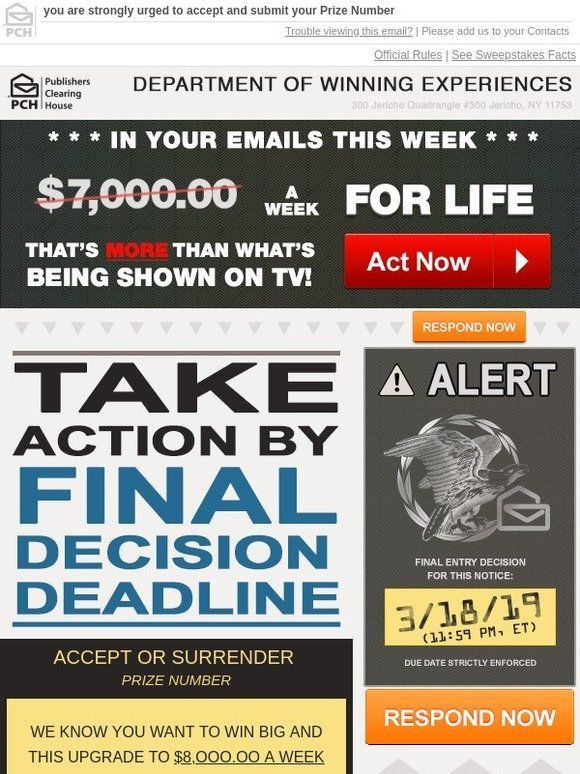 Milled Has Emails From Publishers Publisher Clearing House Win For Life Find Sales