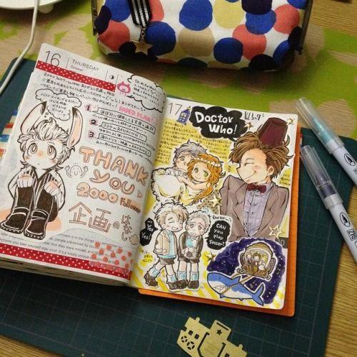 ilikenotebooks:  instagram by @asahinosuke 企画についての話とドクターフーの後半見たよー♥️の話\(^o^)/今回のドクターフーめっちゃ面白かった(≧∇≦)♥️ #ほぼ日手帳#ほぼ日#hobonichi#手帳#日記#diary#mt#一発描き#drawing#illust#doctorwho#ドクターフー