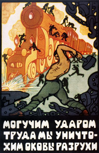 Russian poster, 1921: We destroy the ruin's chains with a strong stroke.