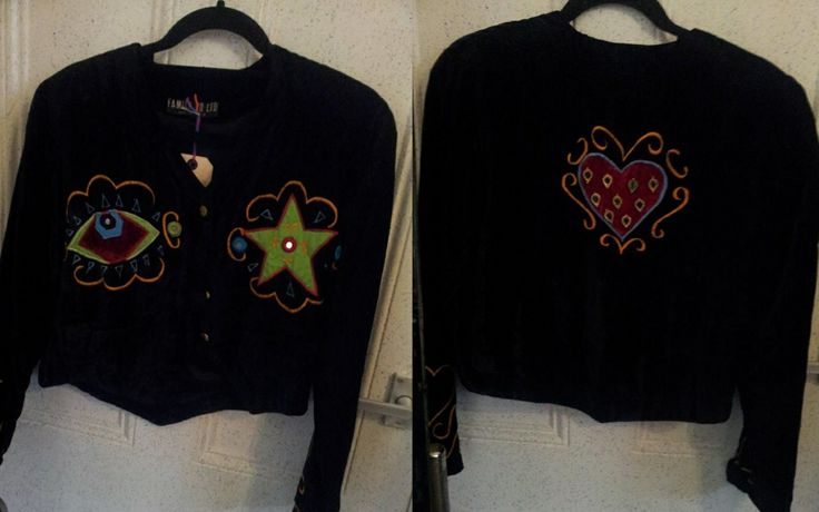 black velvet jacket with funky applique designs! now only FIVE POUNDS in our flash sale this week!
