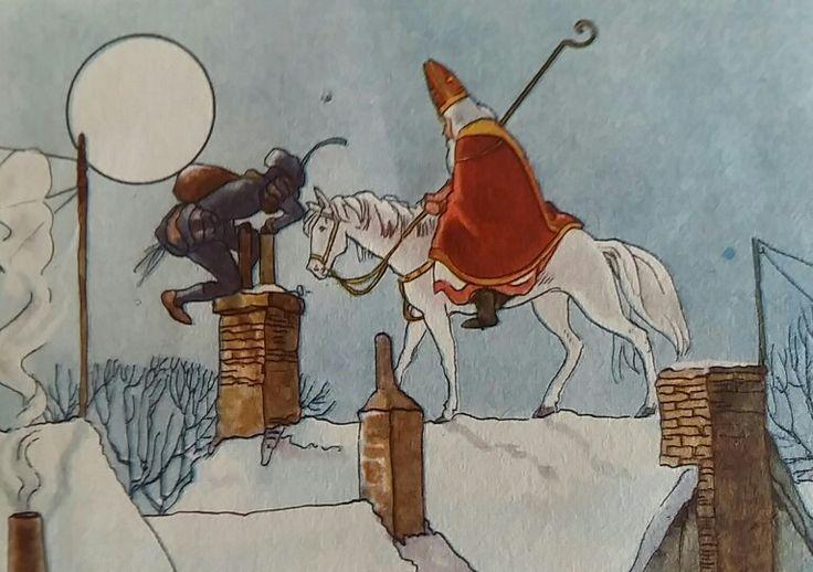 Piet en Sint op de hoge daken