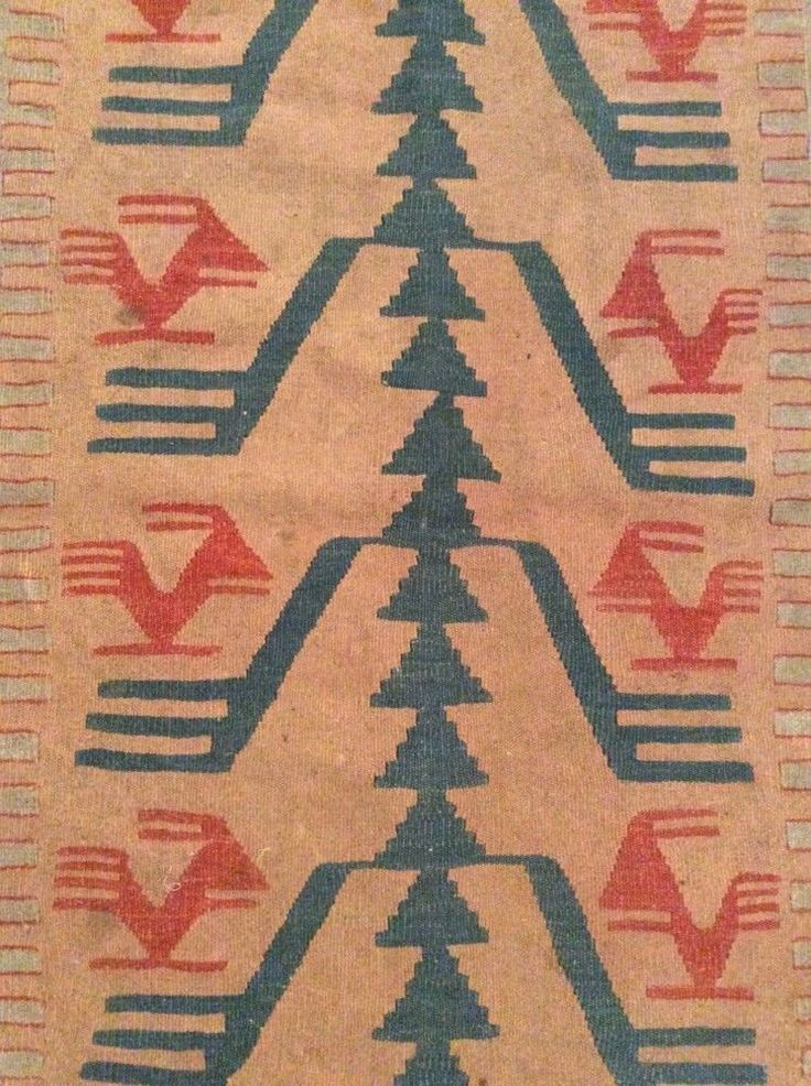 "Antique Navajo Balkan Pirot Turkish Tree of Life Rug Kilim Tapestry 47"" by 35"" #BalkanKilimNavajoRugTurkishBulgarianPirot #Geometric"