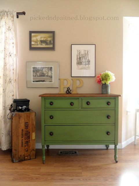 "Picked & Painted: Vintage Green Dresser  ""I used Clivenden Pasture which can be found at Lowe's.  I used a black glaze to darken the green and sealed with wax."""