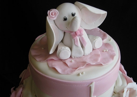 Edible Baby Elephant Cake Topper