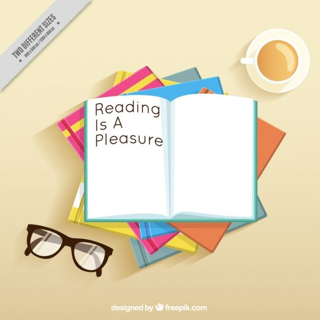 Table background with books and glasses Free Vector