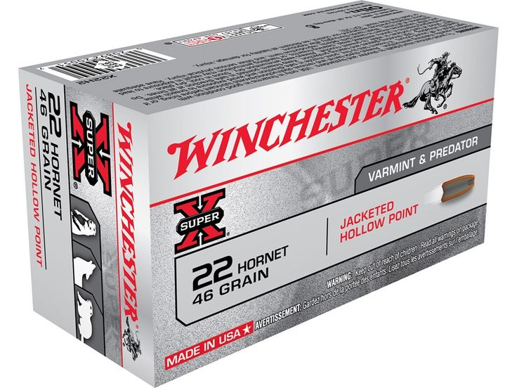 Winchester Super-X Ammunition 22 Hornet 46 Grain Jacketed Hollow Point