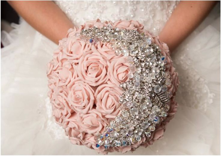 18 Stunning Bejeweled Bridal Bouquets to Steal Your Heart. To see more wedding ideas: www.modwedding.com