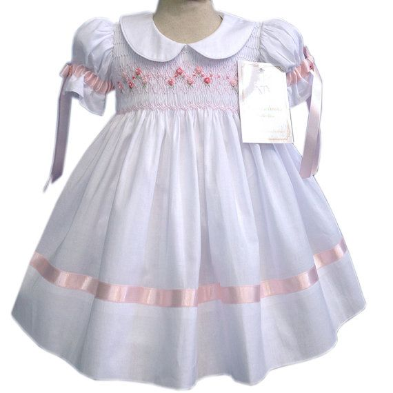 Girls Heirloom dress with pink hand smocking and embroidery,  ribbons in sleeves and skirt, white cotton dress, lined, 3 m to 10 yr 17895