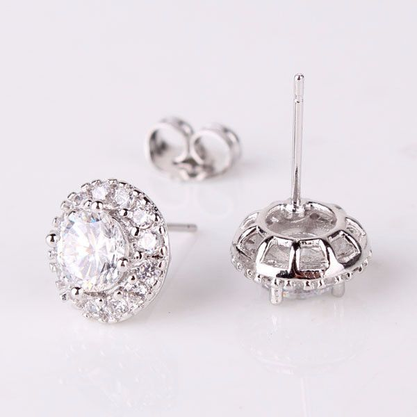 Crystal Solitaire Stud Earrings with Removable Halo Jacket
