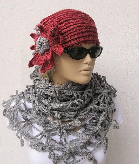 grey-dusty pink - I like scarf