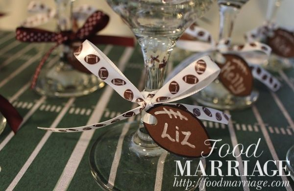 Girls Fantasy Football Draft Party: Wine Glass Charms @BA Haggerty / FoodMarriage.com