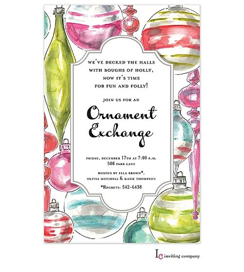 34 Best Ornament Exchange Party Invitations Images On Pinterest