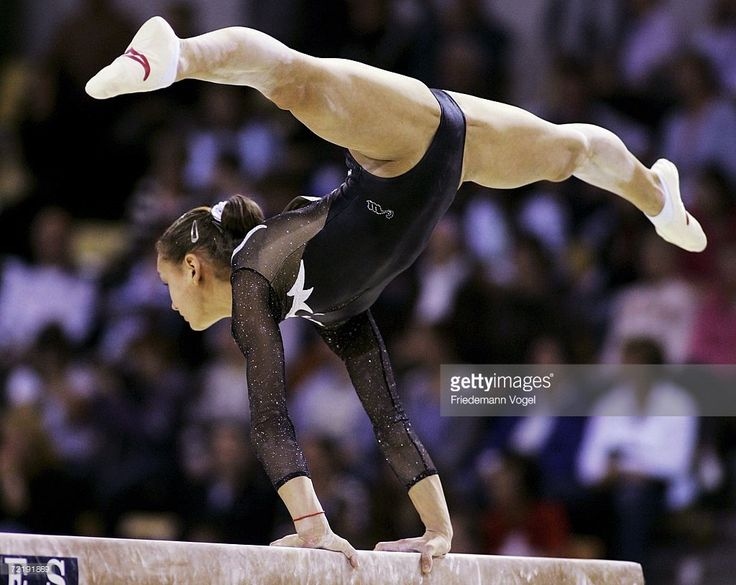 Dariya Zgoba of Ukraine performs on the beam in the womens qualification during the World Artistic Gymnastics Championships at the NRGi Arena on October 17, 2006 in Arhus, Denmark.