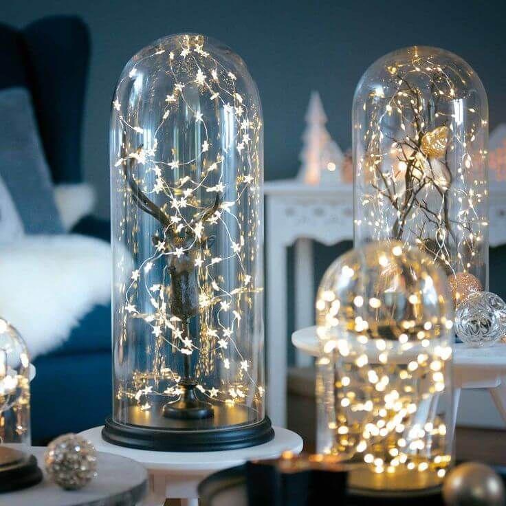 Weihnachtsdeko Ideen mit Lichterketten-Glasvasen leuchtend dekorieren