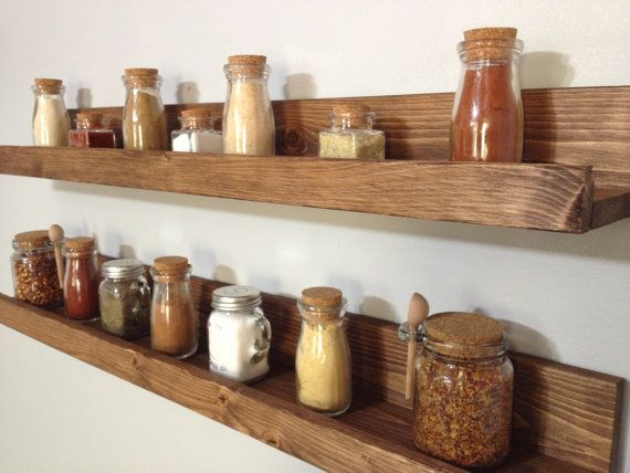 Our Rustic Wooden Spice Rack Shelves Save Counter Space