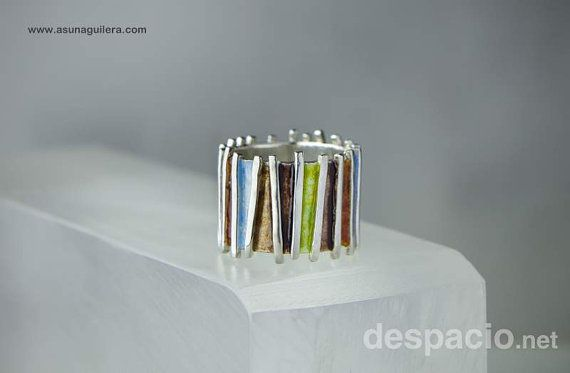 Enamel Sterling Silver Ring Higly Polished Silver