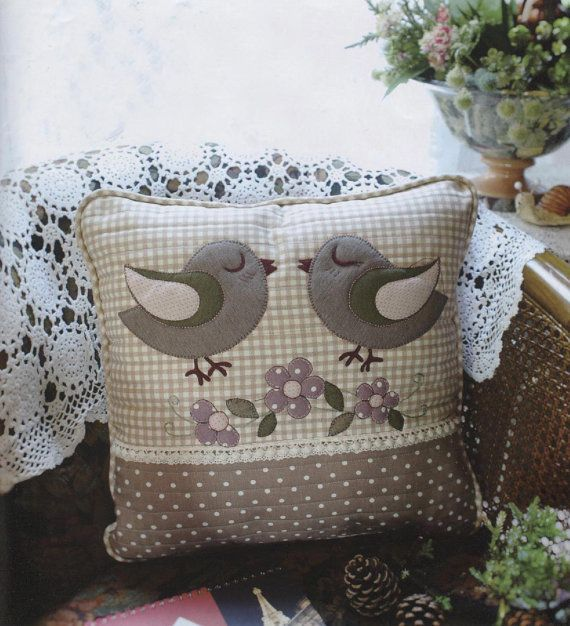 PDF Pattern of Lovely Bird pillow case cover cushion cotton felt sewing quilt applique