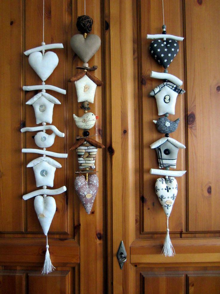 Landhaus Girlande Herz+Haus+Vogel+Natur - Impressionen,Tilda,Vintage,Shabby