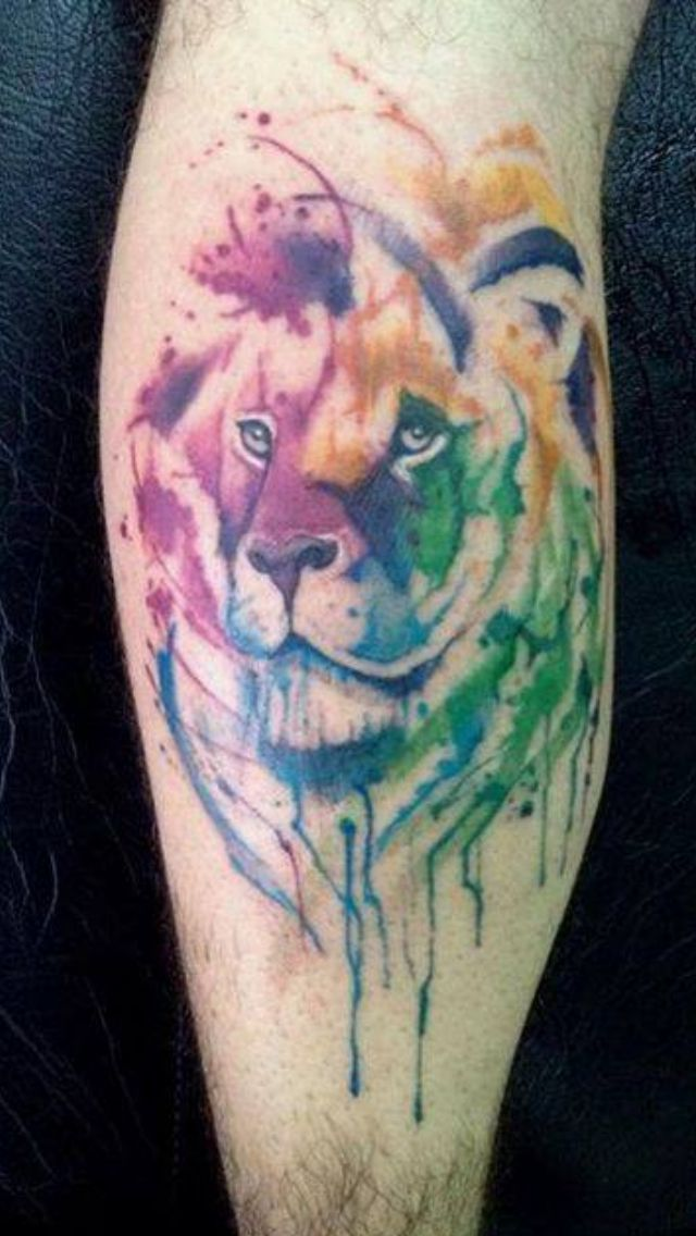 Gorgeous watercolor lion tattoo