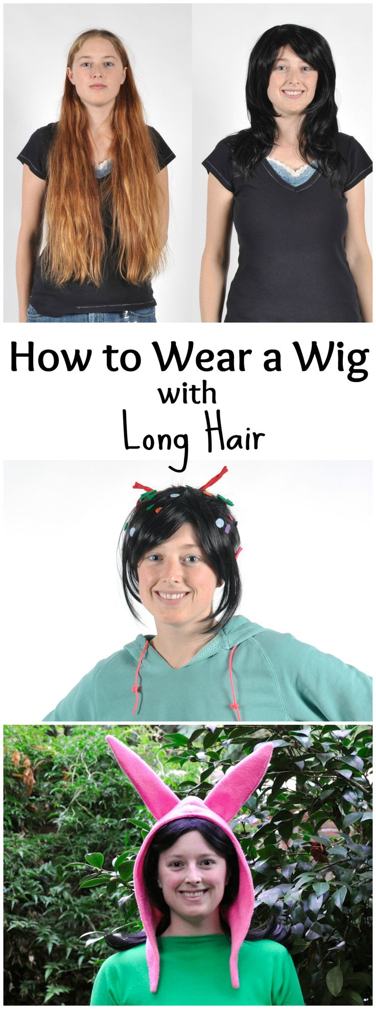 Wigs are awesome, but they can be hard to wear with long hair. This tutorial will show you how to tuck and hide all that long hair so you can wear a wig with long hair! *As shown by my picture, wigs make you happy!Just a warning, if your wig is tight (small) and/or you have thick hair, this still might not work with your hair, but try it out to see :)