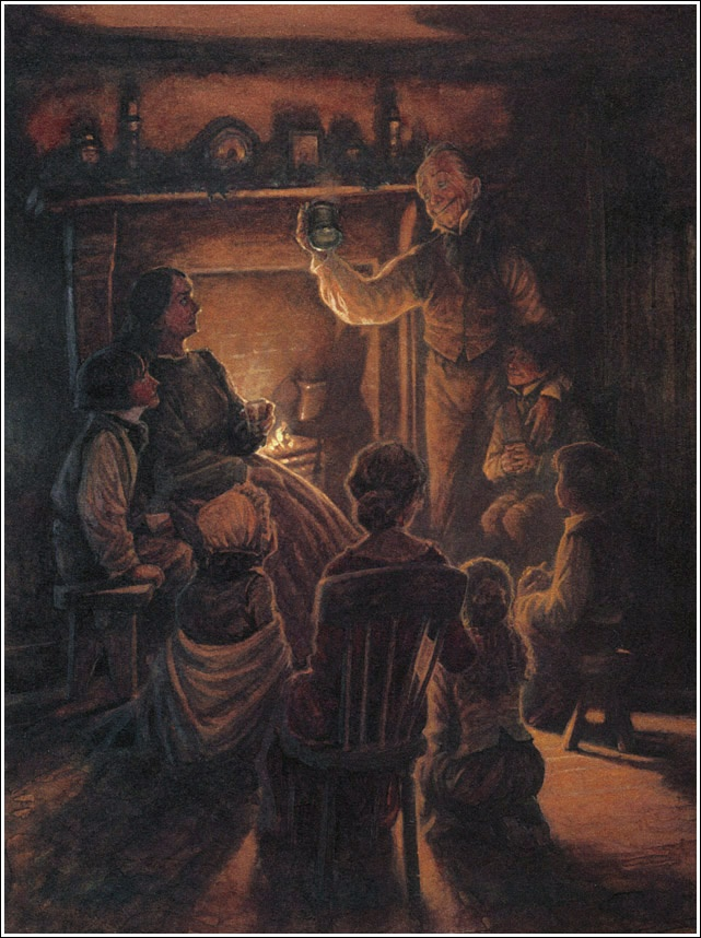In A Christmas Carol, what image of the Cratchit family does Dickens give us?