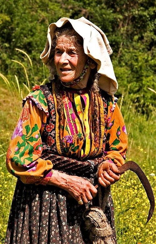 Village woman in traditional daily outfit.  From Küre (Kastamonu province), ca. 2010.
