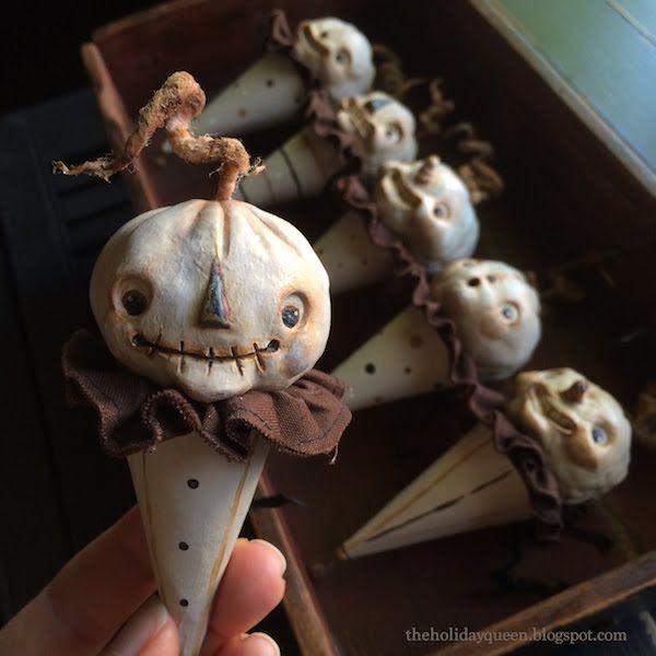 Halloween Folk Art by Melissa Valeriote: National Ice Cream Month ~ Pumpkin Ice Cream Cones