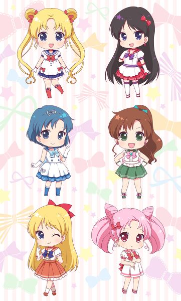 """Usagi Tsukino, Rei Hino, Ami Mizuno, Makoto Kino, Minako Aino, and Usagi """"Chibiusa"""" Tsukino, from Sailor Moon."""