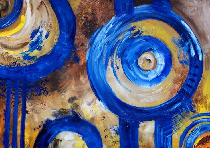 "obraz olejny na płótnie abstrakcja ""niebieskie koła"""