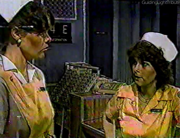 June 11, 1981--Hilary Bauer (MARSHA CLARK) tells fellow nurse Katie Parker (DENISE PENCE) that Nola Reardon seeing Dr. Sara McIntyre for sessions just might do her good.