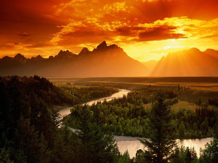 Sunset over the Snake River-Wyoming by   Earth Random