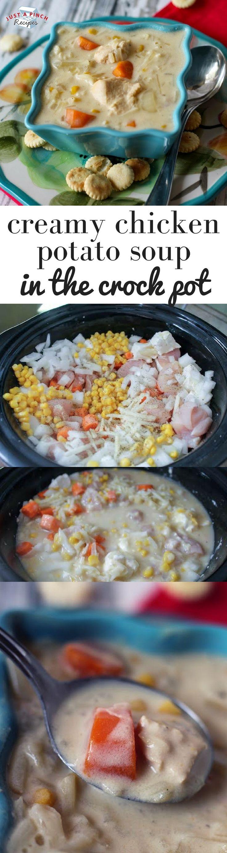 Easy creamy chicken potato soup in the crock pot recipe #crockpotrecipes #crockpotsoup #dinnerrecipes #dinnertime #comfortfood