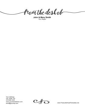 Written in fancy script, the words From the Desk Of help personalize this business letterhead. Free to download and print
